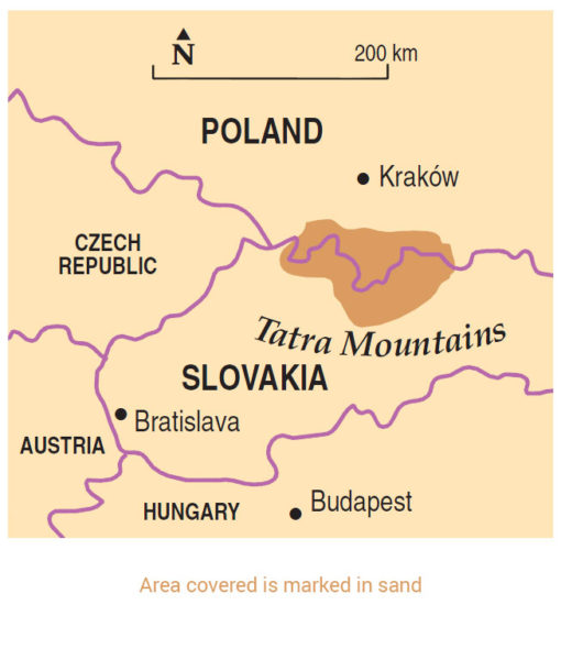 Tatra Mountains area map