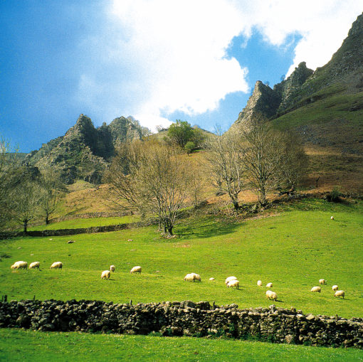 View of Peñas de Itsusi from the Aritzakun Valley in the Basque Country, Spain