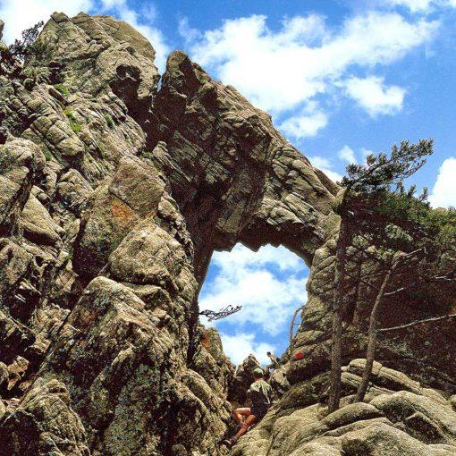 View of the Trou de la Bombe (i Tafunu di u Compuleddu) rock formation on Corsica, France