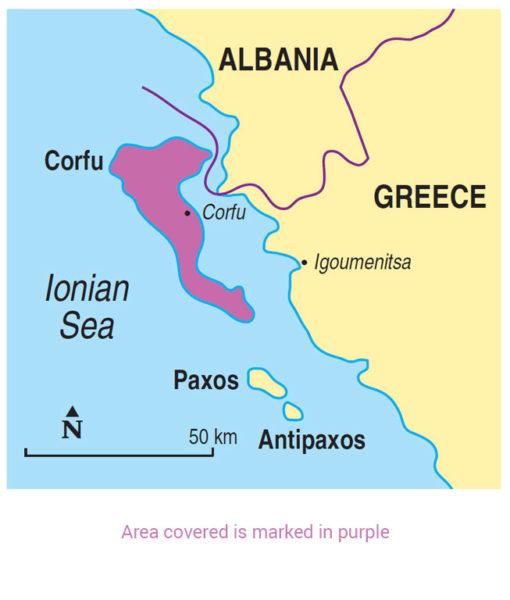Corfu area map