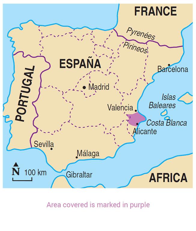 Map Of Spain Costa Blanca.Walking In The Costa Blanca