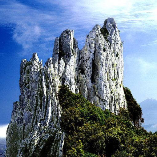 View of the Dentelles Sarrasines rock formation in Provence, France