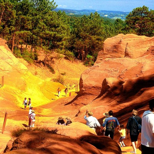 View of Roussillon's old ochre quarries, Rousillon-Languedoc, France