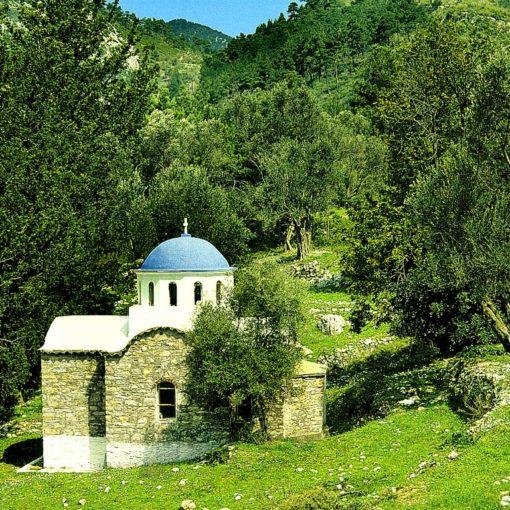 View of a church on Samos, Greece