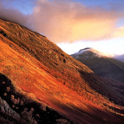 View of the lower slopes of Ben Nevis from the 'tourist path' in the Scottish Highlands, Scotland