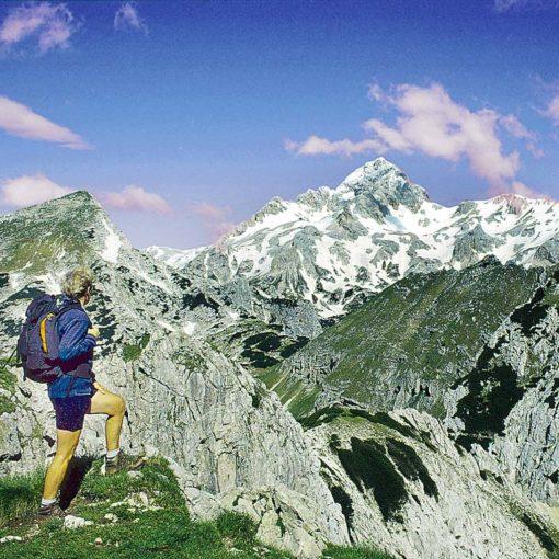 View to Triglav and V. Draški Vrh from Viševnik in Slovenia
