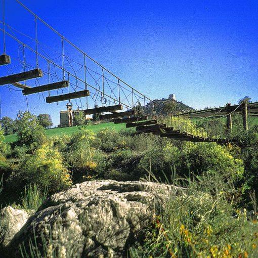 View of the suspension bridge near the ford near Bagno Vignoni in Tuscany, Italy