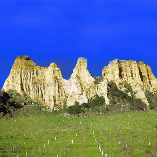 View of sandy cliffs eroded into spectacular shapes on the southwest side of Castelnuovo di Sopra in Tuscany, Italy