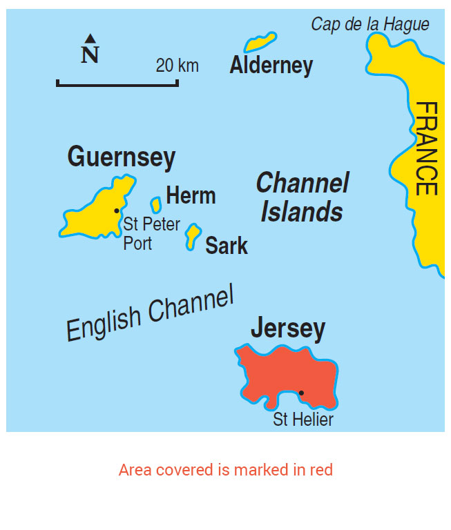 Map Of Uk Including Jersey.Walking In Jersey
