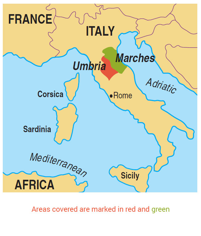 Areas Of Italy Map.Walking Umbria Walking The Marche