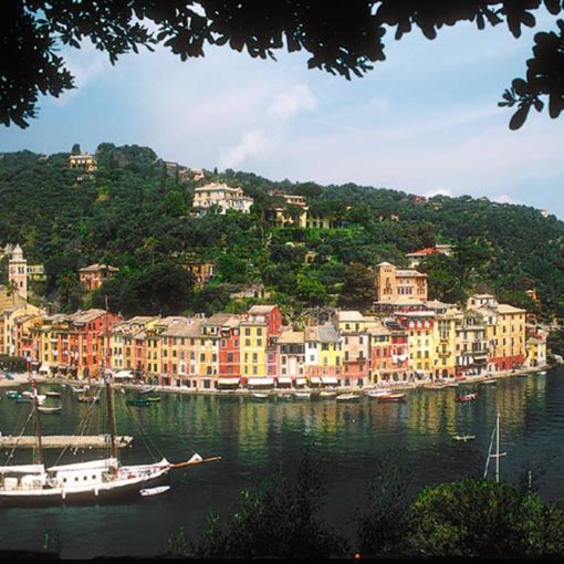 View of Portofino in Italy from the sea