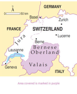 Area covered by Oberland Valais walking guidebook