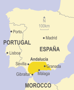 Map showing the Andalucía region in relation to Spain and Portugal