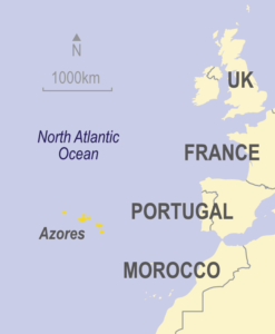 Map showing the Azores in relation to Western Europe