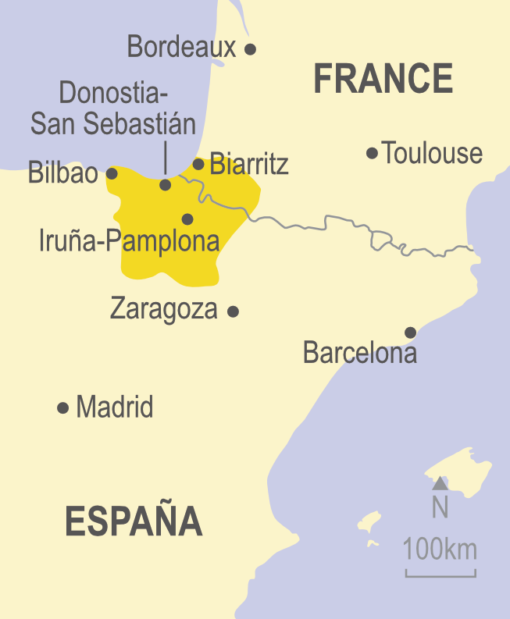 Map showing the Basque Country in relation to Spain and France