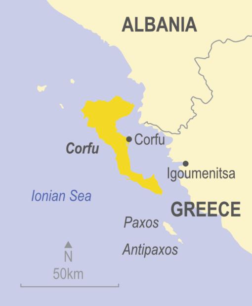 Map showing Corfu, Greece and Albania