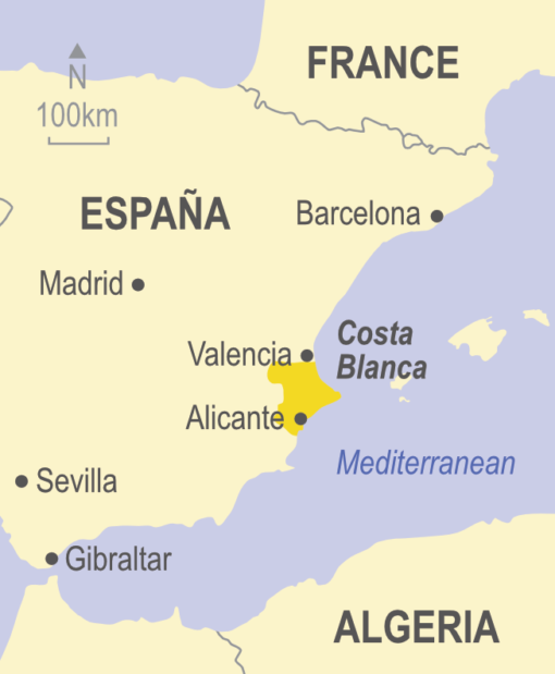 Map showing the Costa Blanca area of Spain