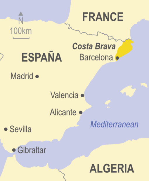 Map showing the Costa Brava area of Spain
