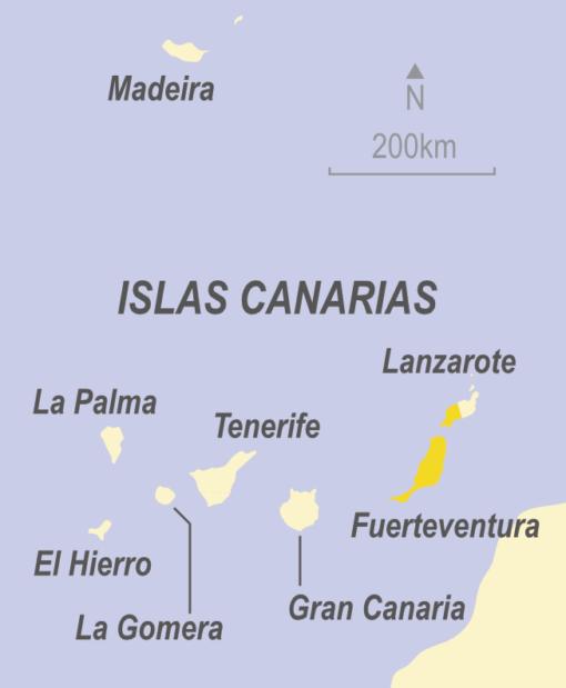 Map showing Fuerteventura, Canary Islands