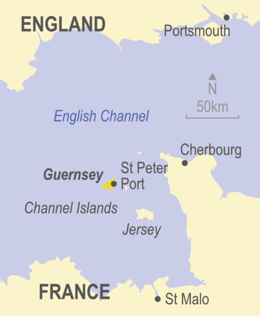 Map showing Guernsey, Jersey and the Channel Islands