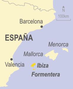 Map showing Ibiz, Formentera, Mallorca and Menorca