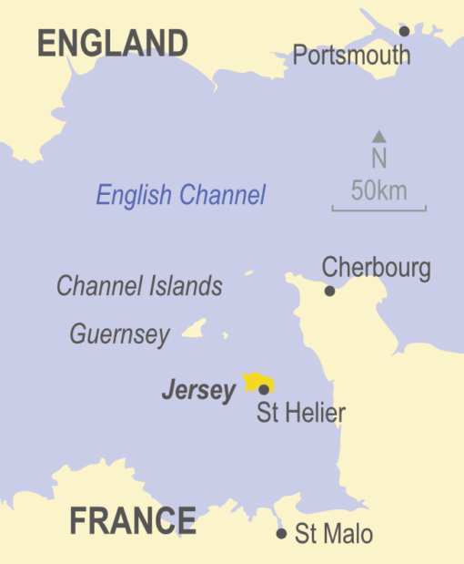 Map of Jersey in the Channel Islands