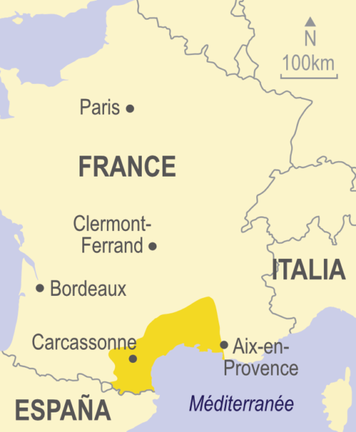 Map of Languedoc and Provence, France