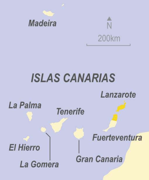 Map of Lanzarote, Fuerteventura, Gran Canaria, La Gomera, El Heirro, La Palma, Tenerife and the Canary Islands, Spain