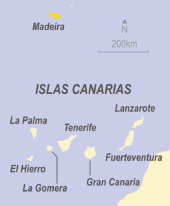 Map showing Madeira, Portugal and the Canary Islands