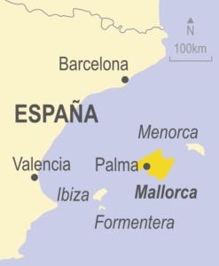Map of Mallorca, Menorca, Formentera, Ibiza, Spain