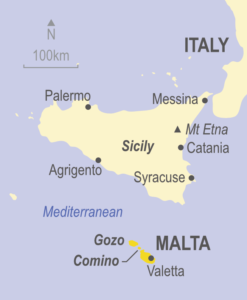 Map of Malta, Gozo & Comino