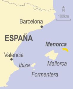 Map showing Menorca, Mallorca, Formentera, Ibiza and Spain