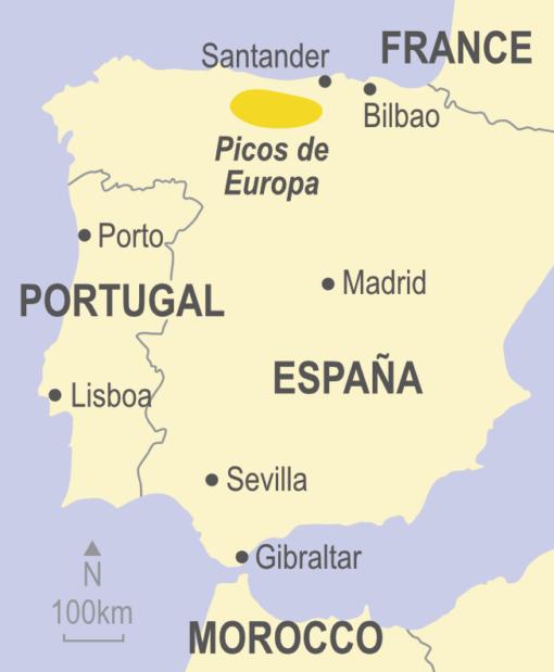 Map of the Picos de Europa, Spain