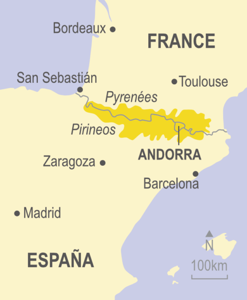 Map of the Pyrenees in France and Spain