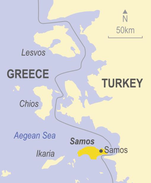 Map showing Samos, Greece