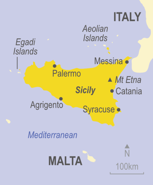 Map showing Sicily, Italy