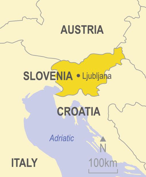 Map showing Slovenia, Austria, Croatia and Italy