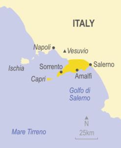 Map showing Sorrento, Amalfi and Capri