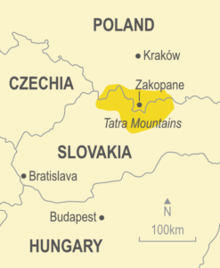 Map showing the Tatra Mountains of Poland and Slovakia