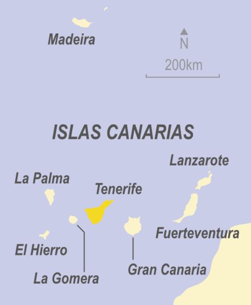 Map showing Tenerife, El Hierro, La Gomera, Gran Canaria, Fuerteventura, Lanzarote comprising the Canary Islands, Spain