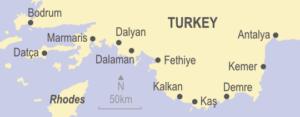 Map of Turkey showing Bodrum, Marmaris, Datca, Dalaman, Dalyan, Fethiye, Kalkan, Kas, Demre, Kemer and Antalya