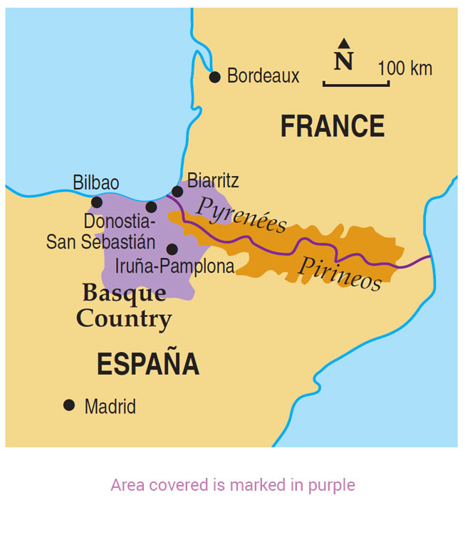 Basque France Map.Walking The Basque Country Guidebook 8 Car Tours Sunflower Books