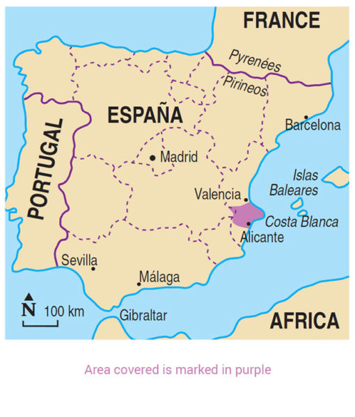 Costa Blanca Area Map