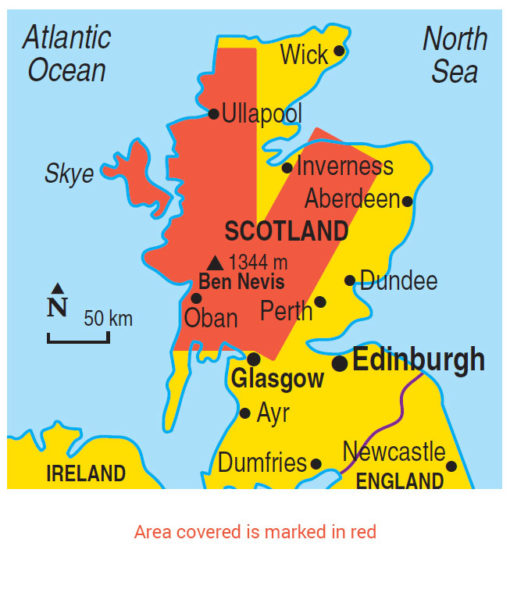 Scotland area map