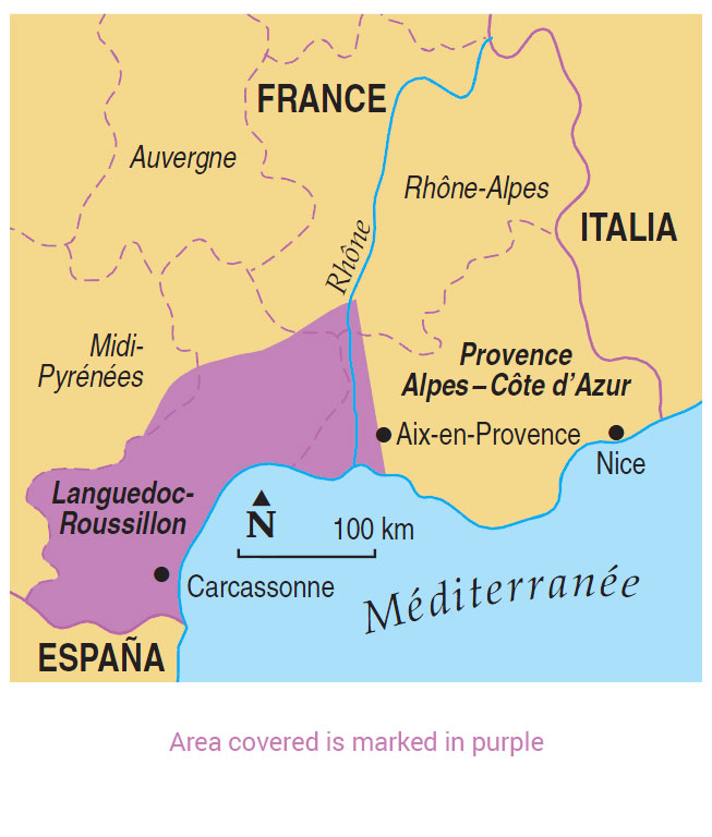 Provence Map Of France.Walking In Languedoc Provence Guidebook 50 Walks Sunflower Books