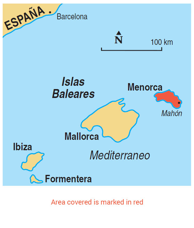 Menorca area map