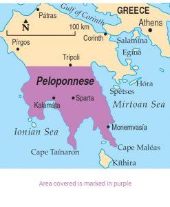 Peloponnese area map