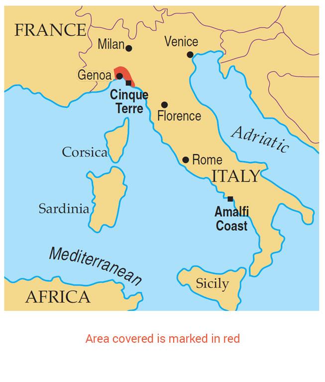 Corniglia Italy Map.Walking In The Cinque Terre And Riviera Di Levante